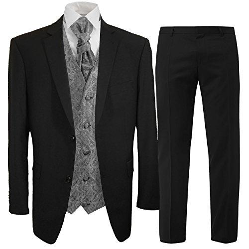 Paul Malone Anzug Schwarzer Hochzeitsanzug Set 7tlg + Hochzeitswesten Set Silber grau Paisley + Hochzeitshemd weiß