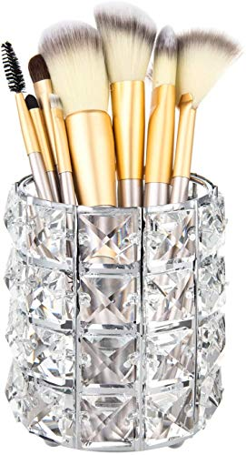 Feyarl Crystal Makeup Brush Holder Makeup Brush Comb Organizer Storage Pen Pencil Holder Cosmetics Tools Container for Dresser Countertop Bathroom Office Silver