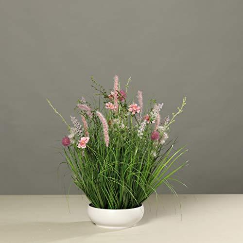 mucplants Blumengesteck pink/lila künstliche Wiesenblumen in weißer Schale, H50cm Tischgesteck Kunstblumen