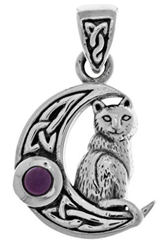 Jewelry Trends Sterling Silver Celtic Moon and Cat Pendant with Amethyst