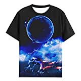 EOWJEED Kid Shirts 3D Outer Space Design Print Blue T Shirts for Kid Summer Casual Tops 8-10 Years