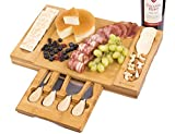 Bamboo Cheese Board Set with Hidden Cutlery Drawer, Charcuterie Platter & Serving Tray Include 4...