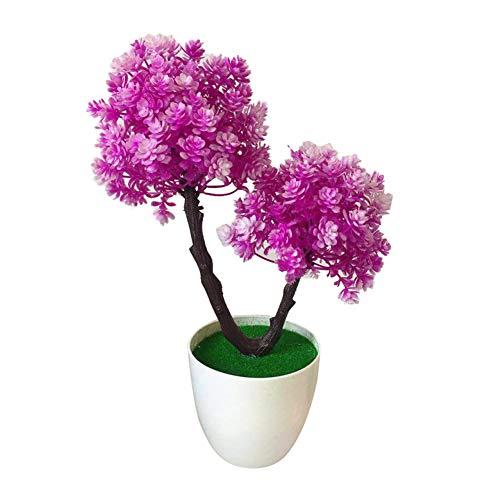 Garretlin - Flor artificial artificial, diseño de árbol de flores artificiales en maceta, bonsái, hotel, jardín, fiesta, escritorio, plástico, Morado y rojo., talla única