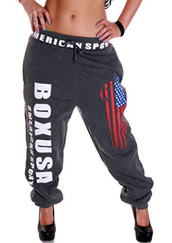 RMK Damen Jogginghose Traininghose Hose Sweatpants Fitness Training Boxen Boxusa (Anthrazit, XL 44)