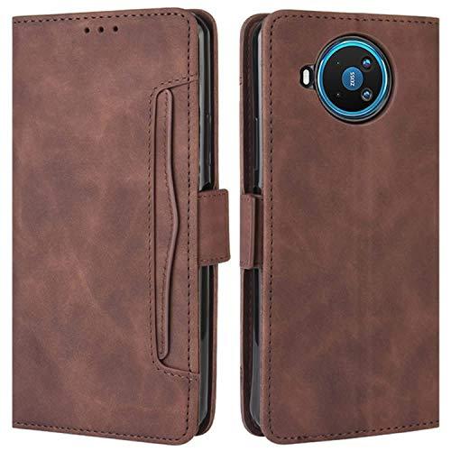 HualuBro Handyhülle für Nokia 8.3 Hülle Leder, Flip Hülle Cover Stoßfest Klapphülle Handytasche Schutzhülle für Nokia 8.3 5G Tasche (Braun)