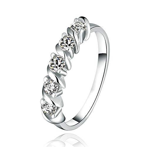 MAQIEY S925 Sterling Silber Ringe Weibliche Modelle Twist Arme Mikro Pflastern T Spitze Hochzeit Bandring Simulation Temperament Ms/Silber/Port Code No. 11