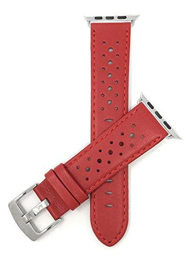 Bandini Ersatzlieferung Uhrenarmband für Apple Watch 42mm, Rot Leder, Perforiert, Stil Gt Rally
