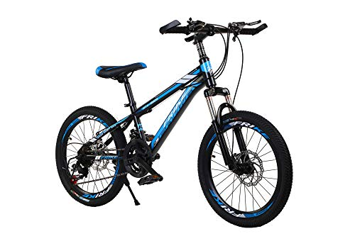 Homeland Hardware 26 Inch Black & Blue Adult Mountain Bike, Aluminum, 21-Speed Shimano Transmission with Suspension, Dual Disc Brakes