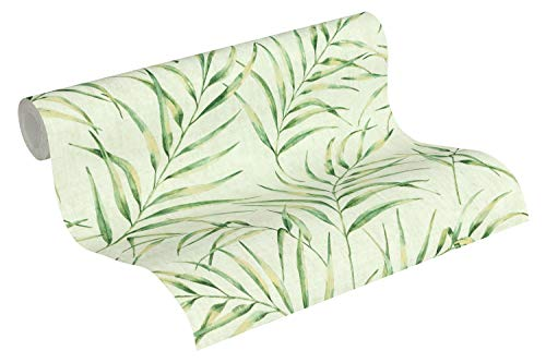 A.S. Création Vliestapete Greenery Tapete in Dschungel Optik mit Palmenblättern 10,05 m x 0,53 m grün Made in Germany 373353 37335-3