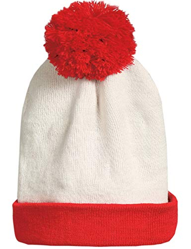 SSLR Adult Halloween Red White Christmas Beanie Hat (One Size, White Red)