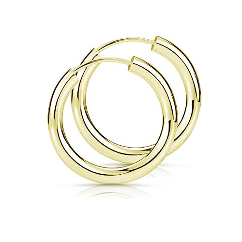 MATERIA Damen Ohrringe Gold Creolen klein - 925 Sterling-Silber Gelbgold vergoldet 15 mm SO-461
