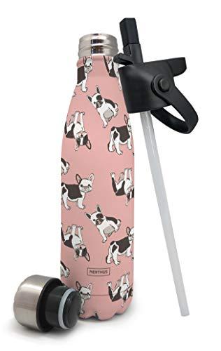 Nerthus Termo Doble Pared para Frios y Calientes Diseño Perros de Acero Inoxidable con Tapon Pajita, 500 ml