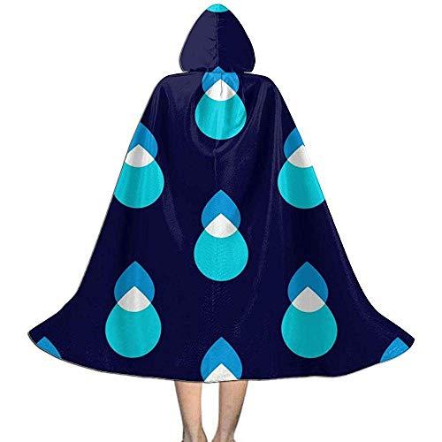 KDU Fashion Capa De Mago,Gotas De Agua Azul Niños con Capucha Bruja Personalizada Disfraces De Mago para Niños Niñas Niños 88cm