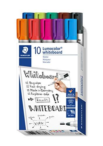 STAEDTLER whiteboard Marker Lumocolor, Linienbreite ca. 2,00 mm, schnelltrocknend, geruchsarm, lange Lebensdauer, blockierte Spitze, 10 whiteboard Marker in Faltschachtel, 351 B10