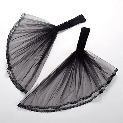 Guantes de verano Pulseras de manguitos de Malla de Tul de las mujeres para las cubiertas del brazo de la fiesta de bodas para los guantes de novias guantes ( Farbe : Black , Größe : Einheitsgröße )