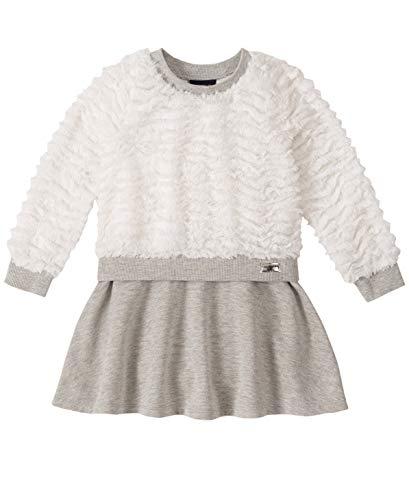 Calvin Klein Baby Girls Dress, Winter White/Metallic Gray, 12M
