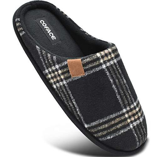 COFACE Nero Pantofole Uomo Plaid, Comoda Memory Foam Calde Scarpe da Casa in Lana con Suola Antiscivolo Primavera/Autunno Taglia 44