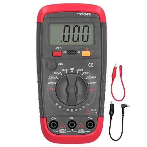 TDC6013l Multímetro Digital de Mano Medidor de Capacitancia para Selección de Capacitores Medidor Eléctrico con Chaqueta de Seguridad 200PF A 20,000μf