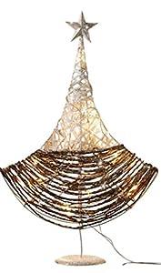"""Deko-Baum """"Glitzerzauber"""" Metallgestell mit Rattan und Papierschnur umflochten, verziert mit Silberglitter und kleinen Spiegelplättchen, eingearbeitete Lichterkette mit 20 warmweiß leuchtenden Lämpchen"""