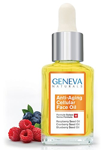 Cellular Face Oil - All Natural Swiss Anti-Aging Formula with Black Seed Oil, Raspberry, and Blueberry Seed Oil for Men and Women (1 Bottle)