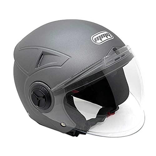 MMG Helmets Open Face Pilot Style Integrated Flip Up Visor DOT - Model 28 (XL, Gray)