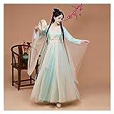 YUNGYE Disfraz antiguo de Hanfu para mujer, estilo chino, súper hada, con mangas anchas, luz blanca, mejorada, ropa diaria (color: estilo A, tamaño: talla única)