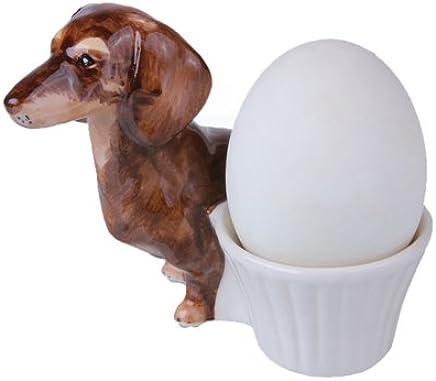 Preisvergleich für dackel geschenk dackel Eierbecher set Eierbecher keramik , Eierbecher Tiere ,Zwei Dackel in braun und schwarz , exclusives Design , A Qualitaetskeramik