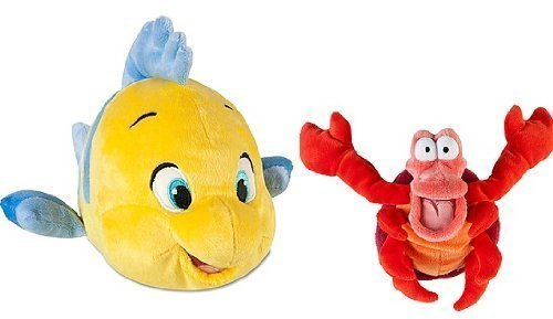 Disney The Little Mermaid Flounder and Sebastian Plush Set Stuffed Animals