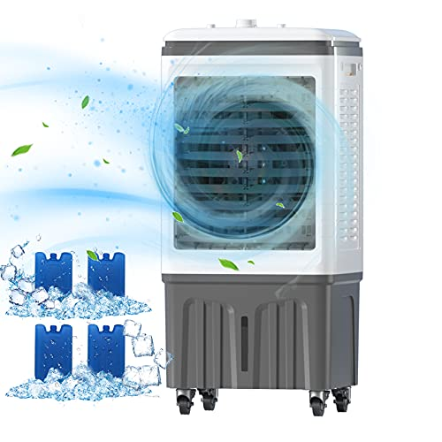 VCJ Evaporative Air Cooler, Portable 3 Speed Cooling Fan, 3 Mode, Includes 4 Ice Crystal Boxes, Big Water Tank and Casters, Air Cooler for Room Office (Height: 30 Inches)