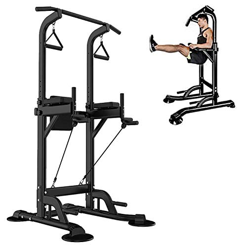 Power Tower Pull Up Bar Stand &Dip Station Adjustable Height Heavy Duty with Sit up Bench Multi-Function Fitness Training Equipment Home Gym