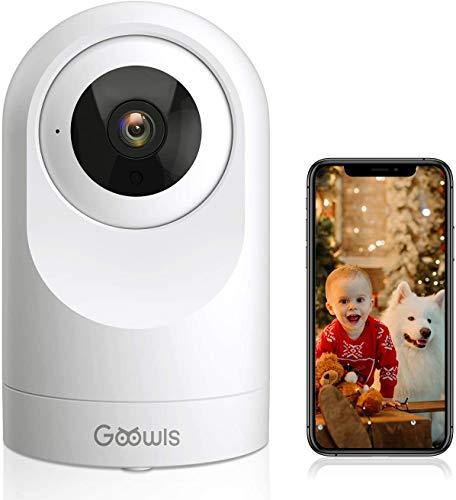 Caméra Surveillance WiFi, Goowls 1080P Caméra IP WiFi sans Fil Intérieur 360 Degrés avec Vision Nocturne, Détection de Mouvement, Audio Bidirectionnel, pour Bébé et Animal Compatible Alexa