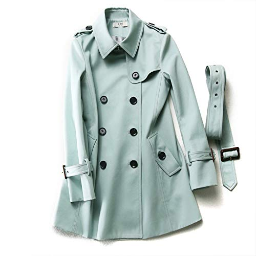 Q-QQ9 Autumn Fashion British Style Cotton Double-Breasted Windbreaker Women's Long Section Ladies Coat*Mint Green*S Mmm