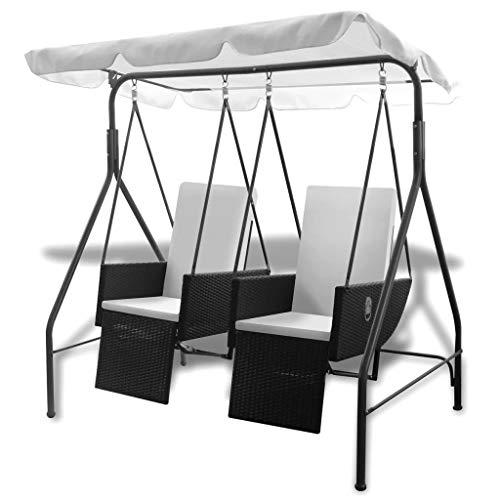 vidaXL Hollywoodschaukel mit Dach 2-Sitzer Gartenschaukel Doppelliege Gartenmöbel Liege Gartenliege Terrasse Garten Poly Rattan Schwarz