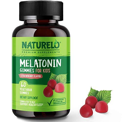 NATURELO Melatonin Gummies for Kids – Vegan, Non-GMO, Gluten-Free, Soy Free - Strawberry Flavor - Gentle Sleep Supplement - 60 Vegetarian Gummies
