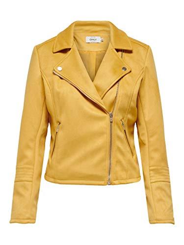 ONLY Damen Jacke Wildlederimitat Biker 38Golden Apricot