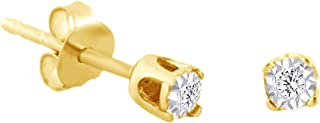 0.04 Cttw Round Shape White Natural Diamond Tiny Solitaire Stud Earrings In 14K Gold Over Sterling Silver