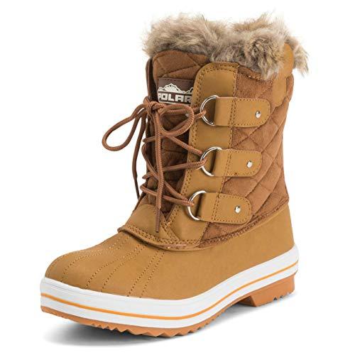 Polar Products bota de neve feminina acolchoada curta inverno neve chuva quente impermeável, Tan, 11