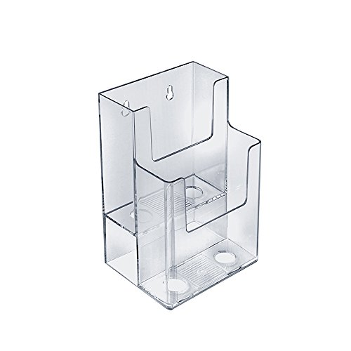 """Azar Displays 252032 Clear Two-Tier Tri-Fold Brochure Holder, Acrylic Boxes for Display - Table Menu Holder Stands (4.25"""" W by 3.75"""" D by 7"""" H)-Tabletop Pamphlet Holder - Literature and Leaflet Holder"""