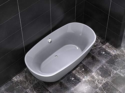 Freistehende Badewanne aus Acryl COMODO oval grau 170x85x60 cm