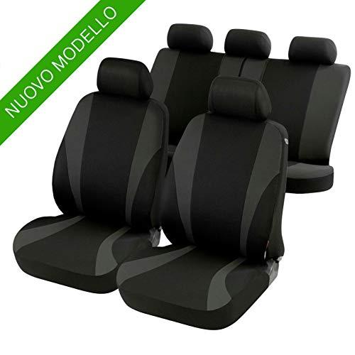 Coprisedili per auto 4/5 posto | Aperture per poggiatesta | Bracciolo laterale | Cinture di sicurezza | Sedili posteriori reclinabili (Nero)