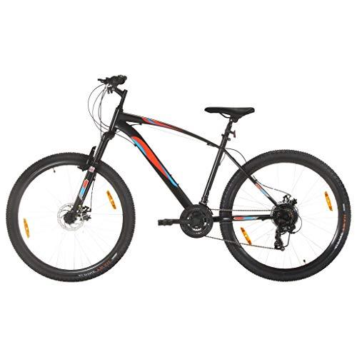 vidaXL - Bicicleta de montaña, bicicleta de ciclismo, artículo de deporte para adultos, exterior, frenos de disco, 21 velocidades, ruedas de 29 pulgadas, marco de 48 cm, color negro