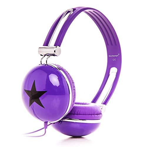 RockPapa OV820S DJ Cuffie per Bambini/Adulti, Regolabile, Over-Ear per Smartphone, Tablet, MP3/4, DVD, iPod, iPad, iPhone Viola