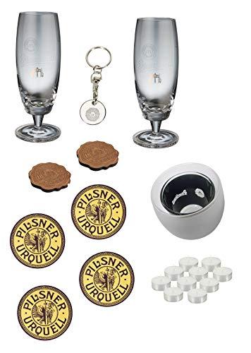 Pilsner Urquell Birra Set 10 Pz. Bicchieri sottobicchieri Portachiavi portacandela lumini