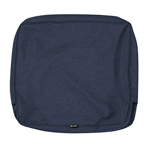 Classic Accessories Montlake Water-Resistant 21 x 20 x 4 Inch Patio Back Cushion Slip Cover, Heather Indigo Blue
