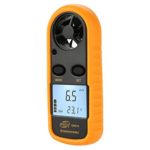 QKa Windmesser, tragbare Windmesser Handheld Windgeschwindigkeitsmesser Luftstromthermometer mit LCD-Hintergrundbeleuchtung zum Windsurfen, Kitesurfen, Segeln, Surfen, Angeln,1Pack