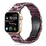 Fintie Armband kompatibel mit Apple Watch 44mm 42mm SE/Series 6/5/4/3/2/1 - Harz Ersatz Band Uhrenarmband Replacement mit Doppelt verriegender Faltschließe, Lila