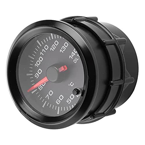 Medidor de temperatura de aceite, 2in 12V Medidor de temperatura de aceite 40-140 ℃ Pantalla Retroiluminación de 7 colores con sensor Universal para automóvil