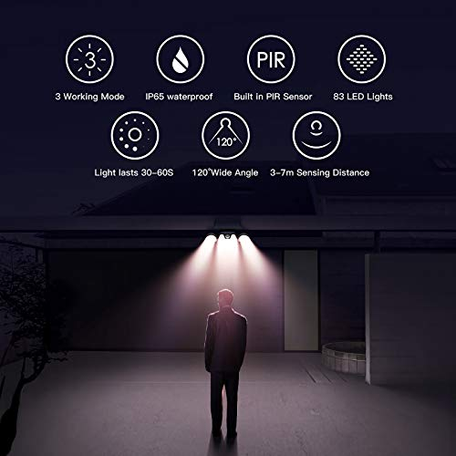 Ltteny Solar Lights Outdoor, 83 COB LED Solar Motion Sensor Lights with 3 Modes, IP65 Waterproof Upgraded Flood Lights, Wireless Wall Light Solar Security Lights 450lm for Garden Patio Garage, 2 Pack