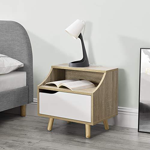 [en.casa] Nachtkastje 45x46,5x35 cm spaaplaat en vurenhout wit en hout