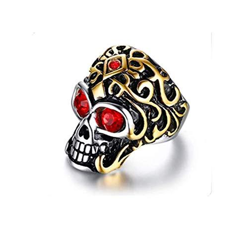 Anillos de viento y hombre europeos y americanos, taladro de acero inoxidable, anillo fantasma de acero + oro